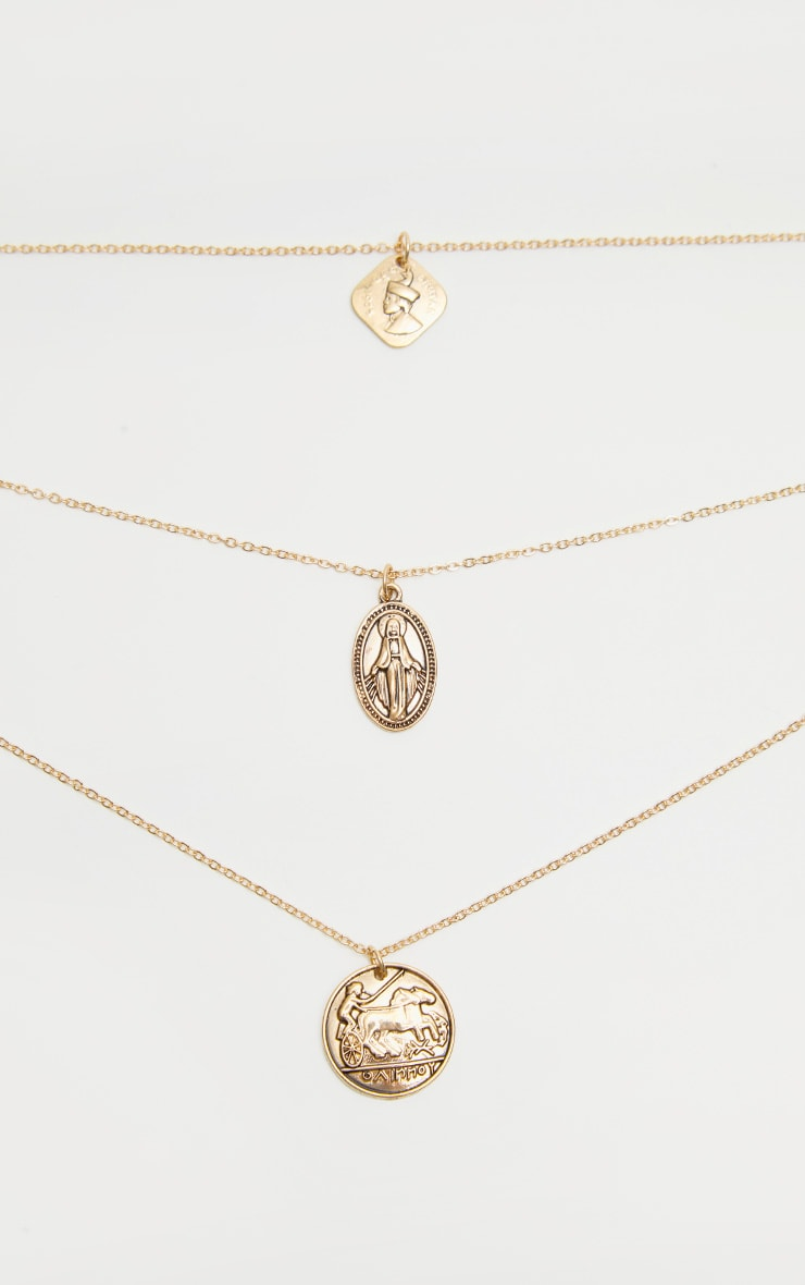 Gold Renaissance Triple Layered Coin Pendant Necklace 3