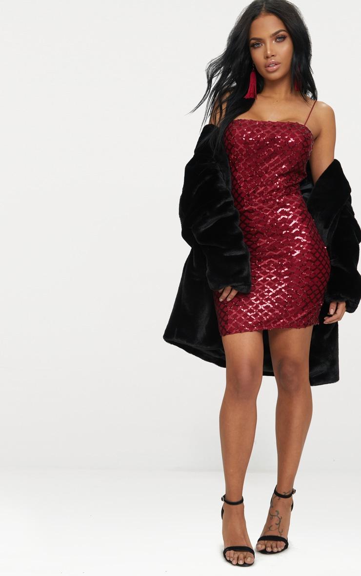 Burgundy Strappy Sequin Straight Neck Bodycon Dress 4