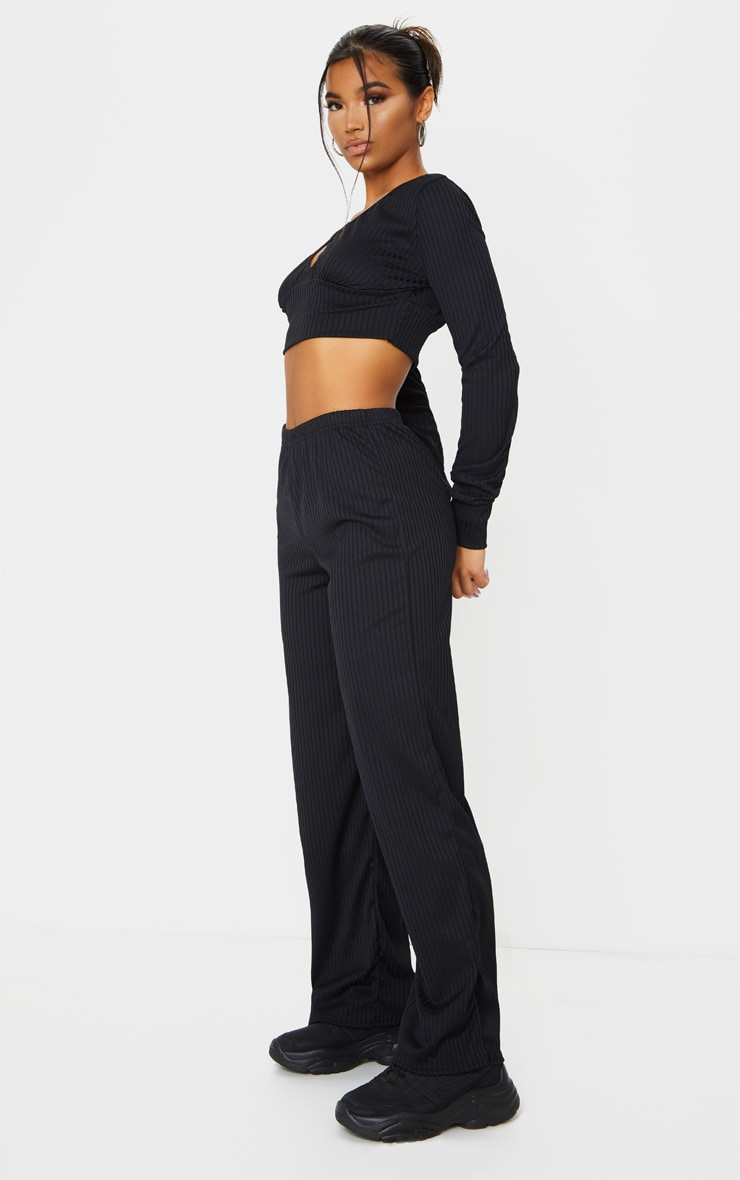 Black Ribbed Lounge Long Sleeve Crop And Wide Leg Trouser Set 3