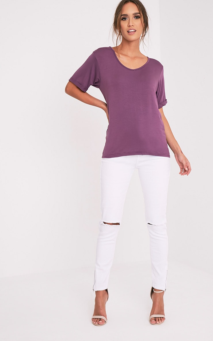 Basic Aubergine V Neck Oversized T-Shirt 5