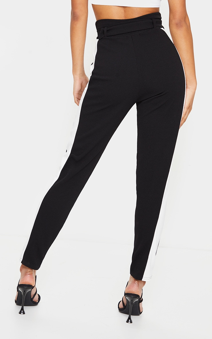 Black D Ring Contrast Panel Skinny Pants 3