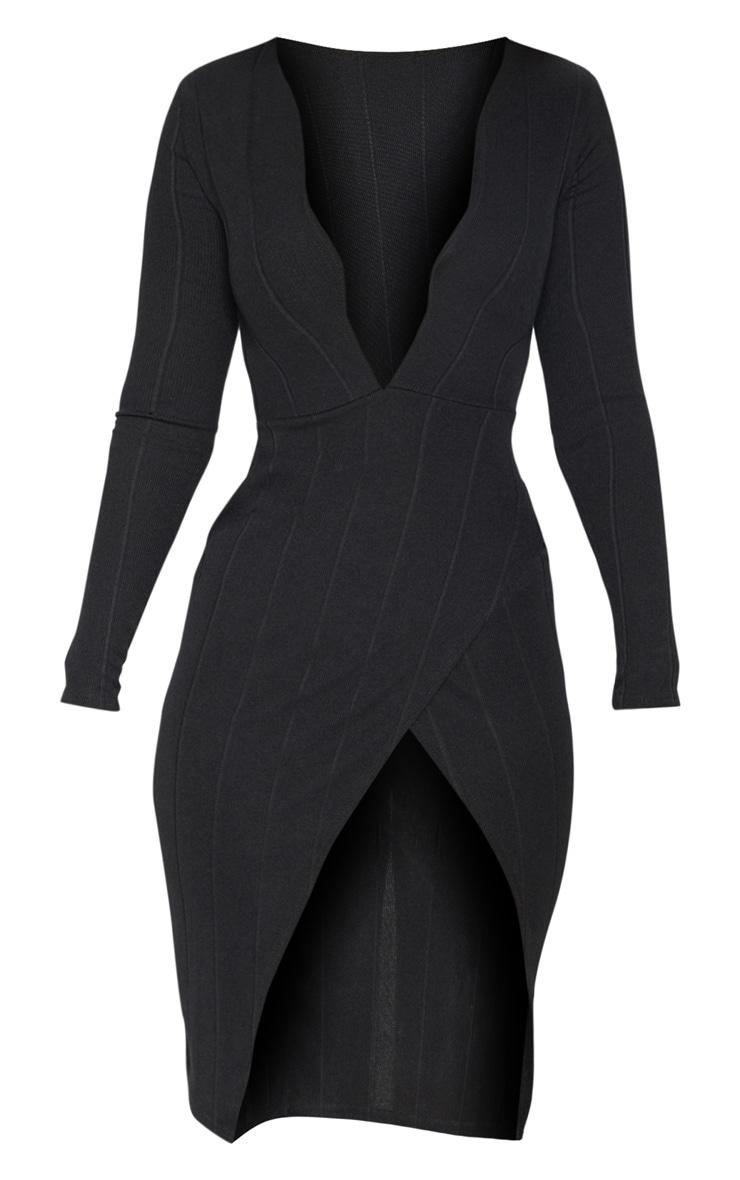Black Bandage Plunge Long Sleeve Wrap Over Midi Dress 3