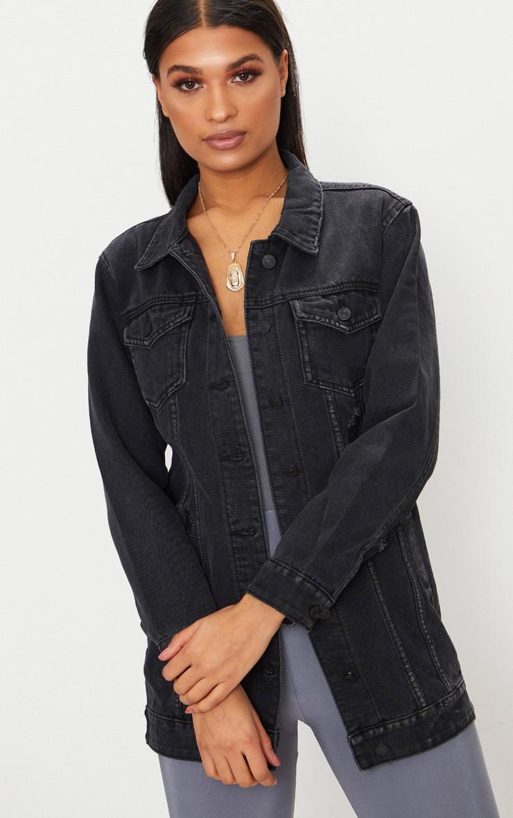 longue veste en jean noir d lav denim prettylittlething fr. Black Bedroom Furniture Sets. Home Design Ideas