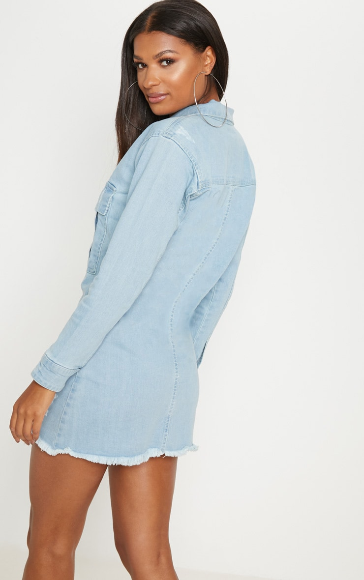 Light Wash Super Distress Denim Shirt Dress 2