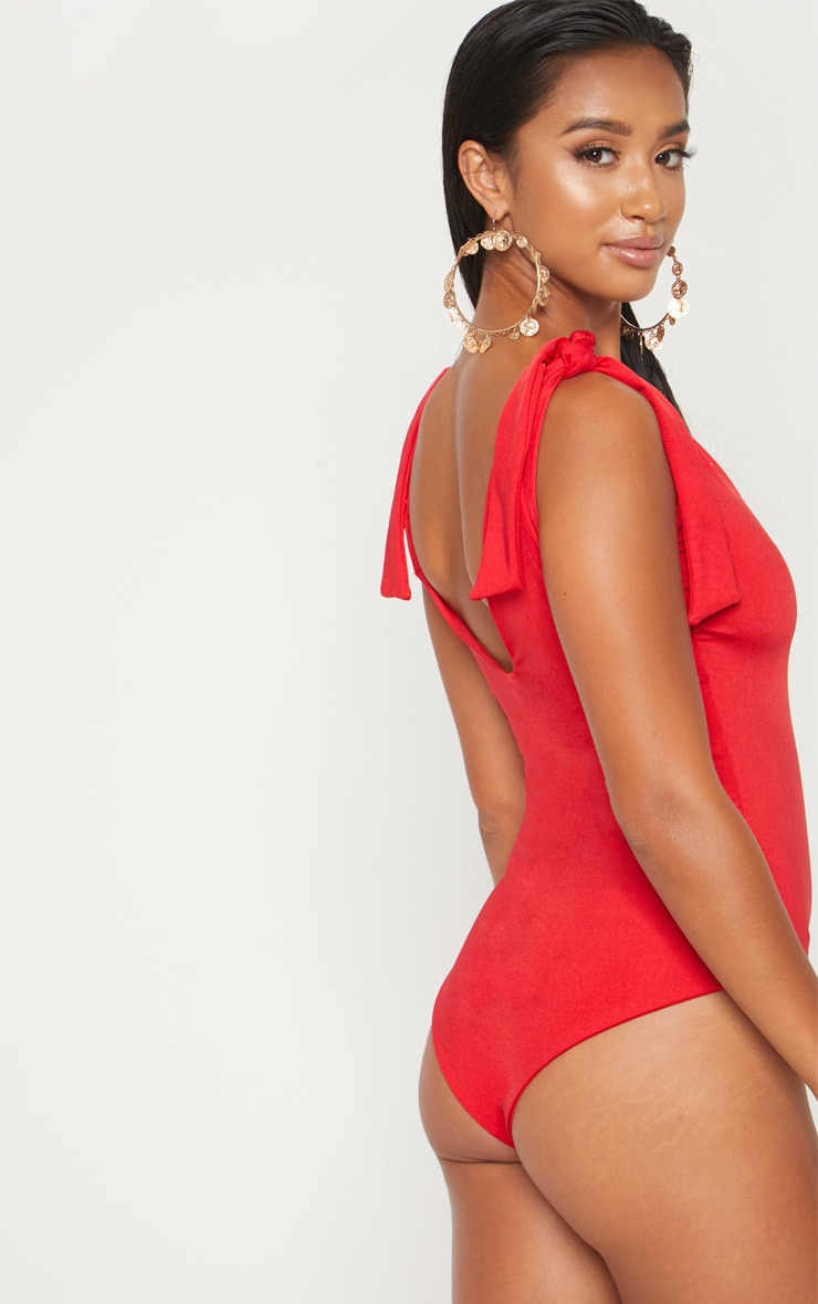 Petite Red Tie Shoulder Plunge Swimsuit 2