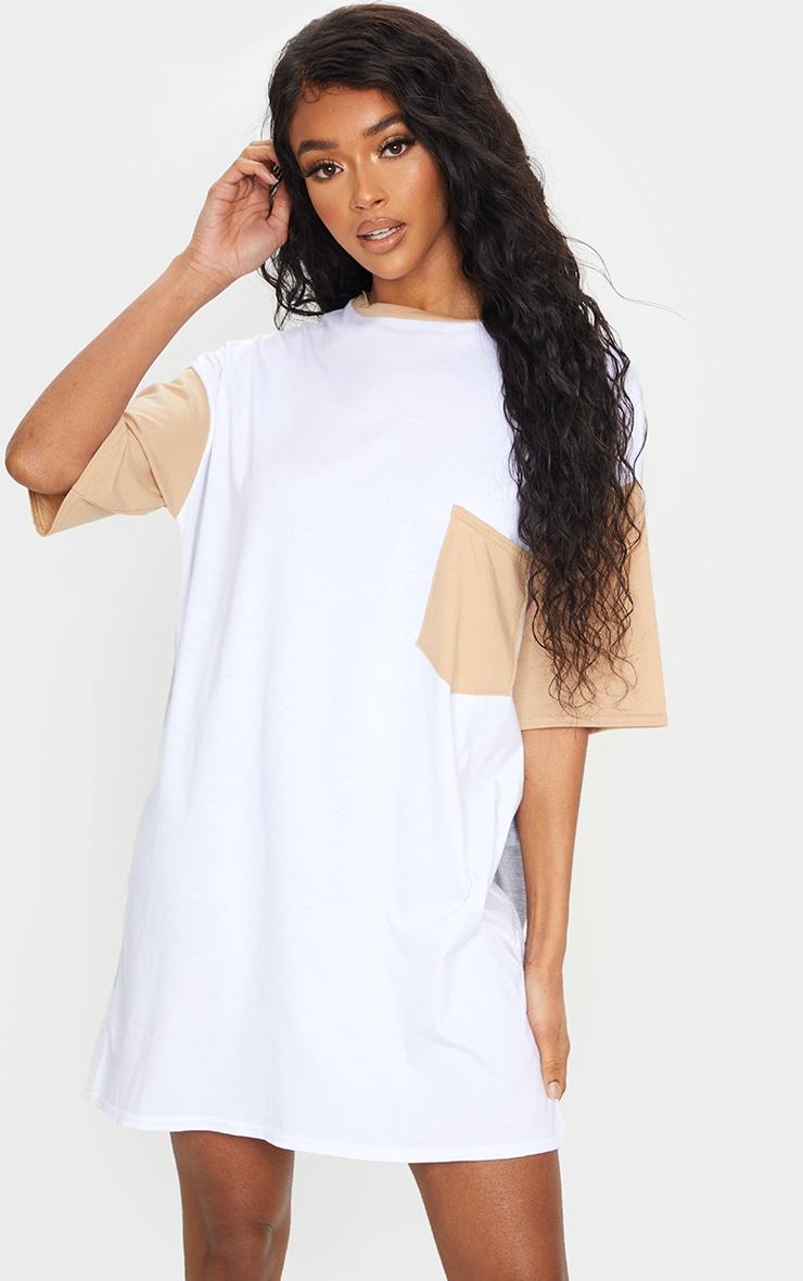 Multi Contrast Pocket Detail Oversized T Shirt Dress 3