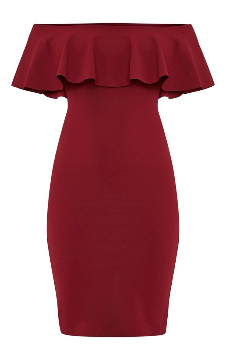Celinea Burgundy Bardot Frill Midi Dress 3