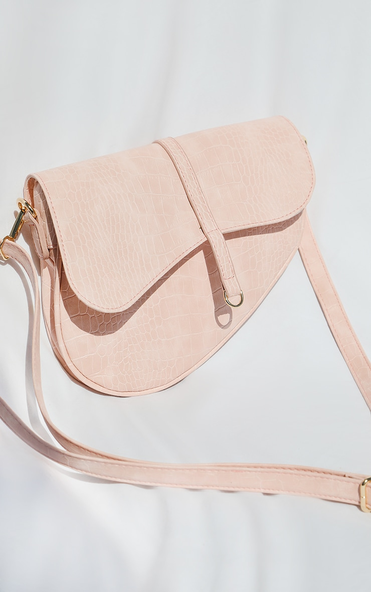 Pink Croc Saddle Cross Body Bag 4