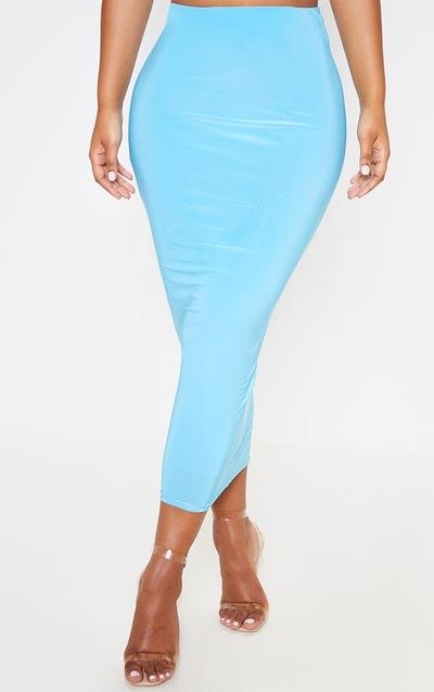 Aqua Second Skin Slinky Longline Midi Skirt