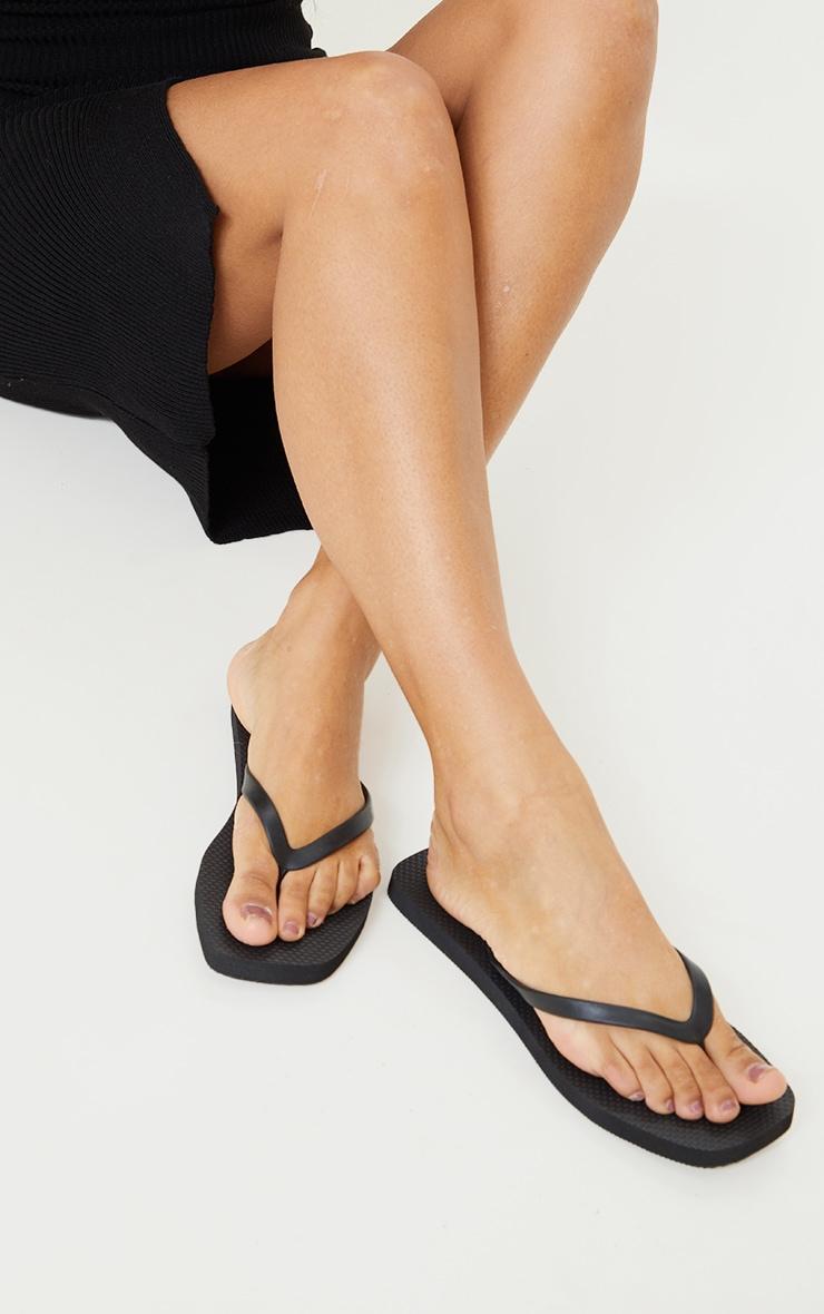 Black Square Toe Flip Flop 1