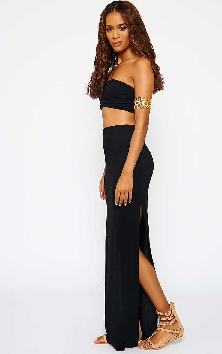 Kayley Black Split Jersey Maxi Skirt 1
