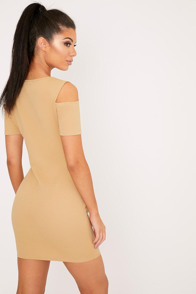 Alarnia Camel Cold Shoulder Bodycon Dress 2