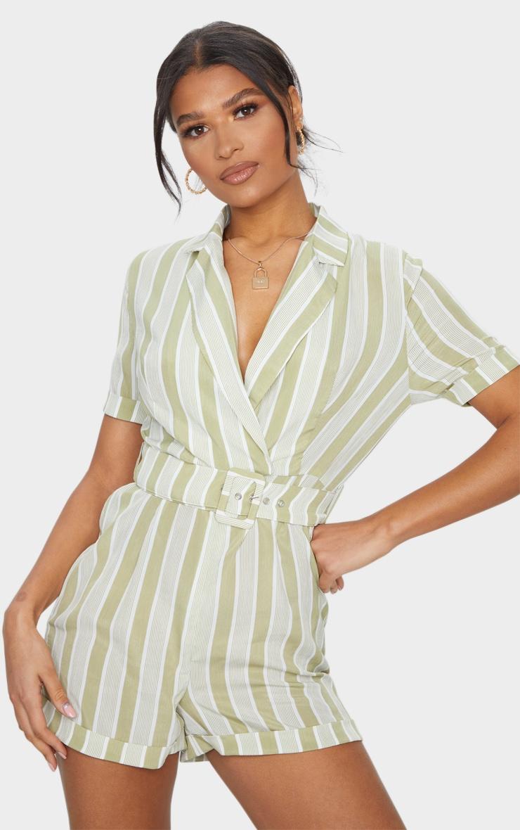 Sage Green Stripe Belted Short Sleeve Blazer Playsuit 1