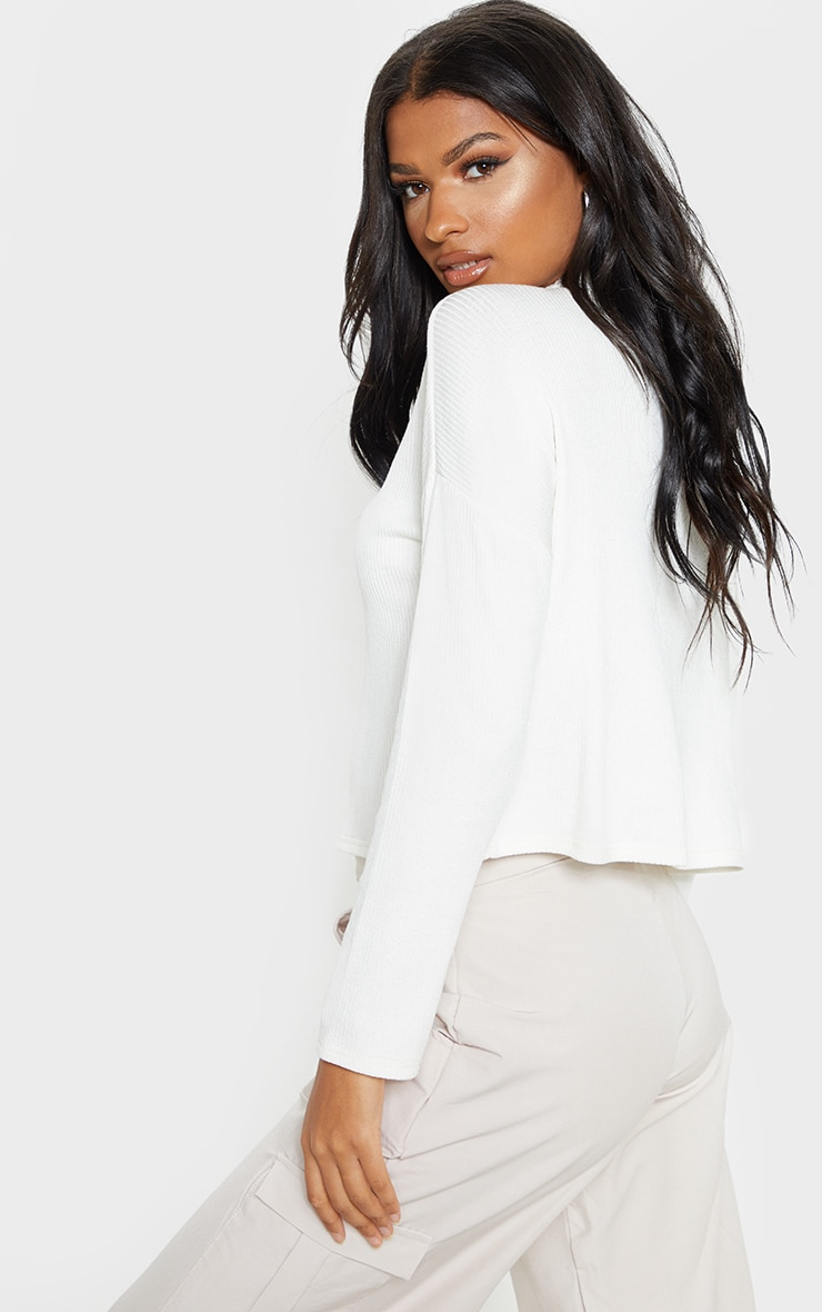 White Brushed Rib High Neck Long Sleeve Top 2