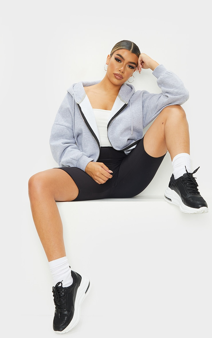 Grey Oversized Longline Zip Belted Hoodie Jacket 3