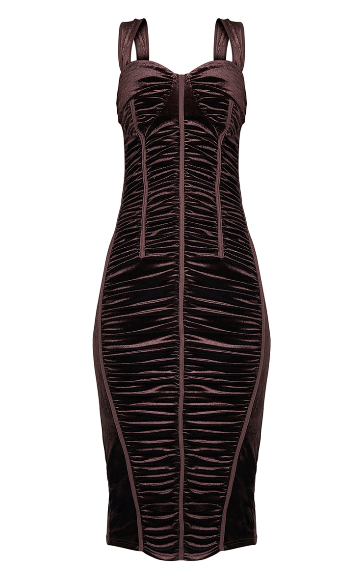 Chocolate Velvet Ruched Corset Detail Sleeveless Midi Dress 5