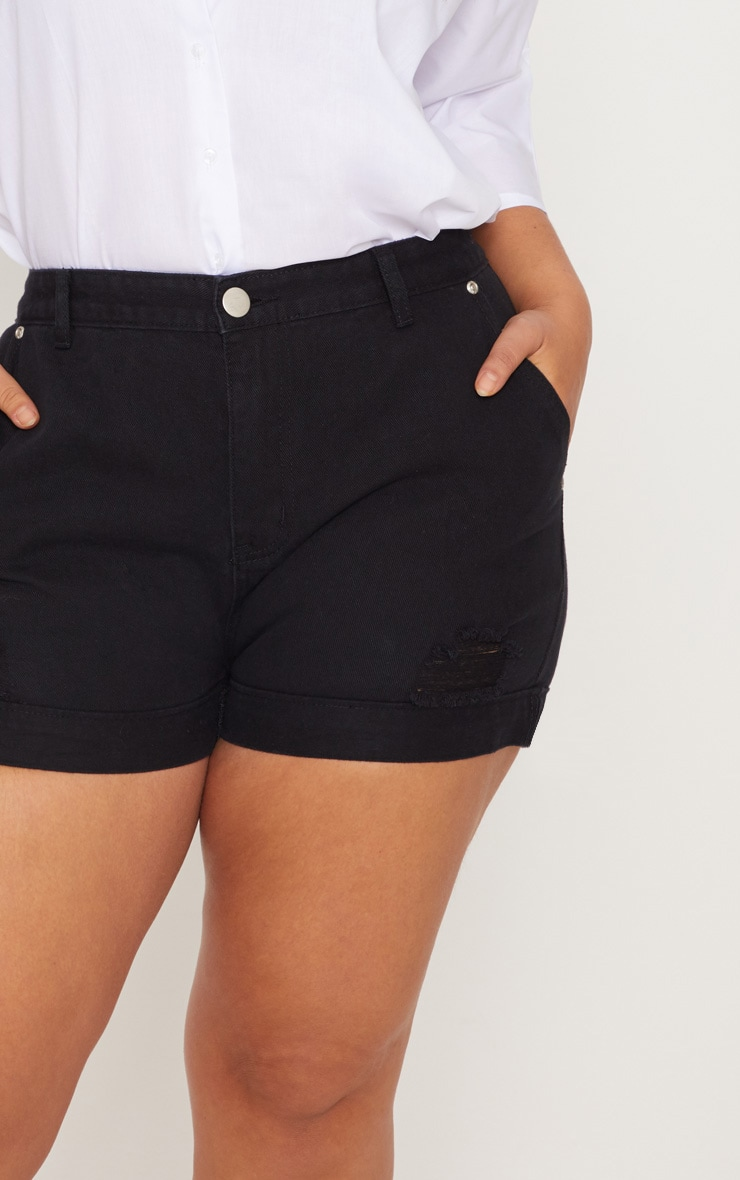 Plus Black Turn Up Hem Denim Shorts 6