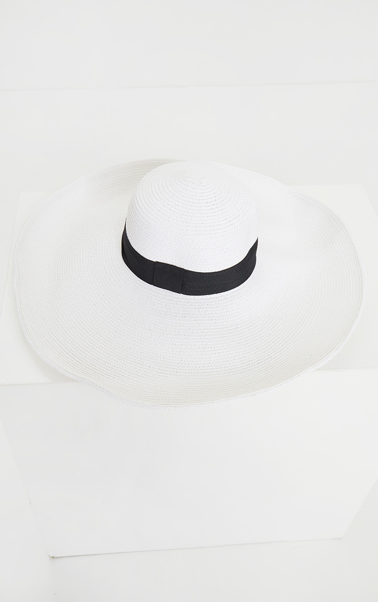 White Straw Wide Boater Hat 3