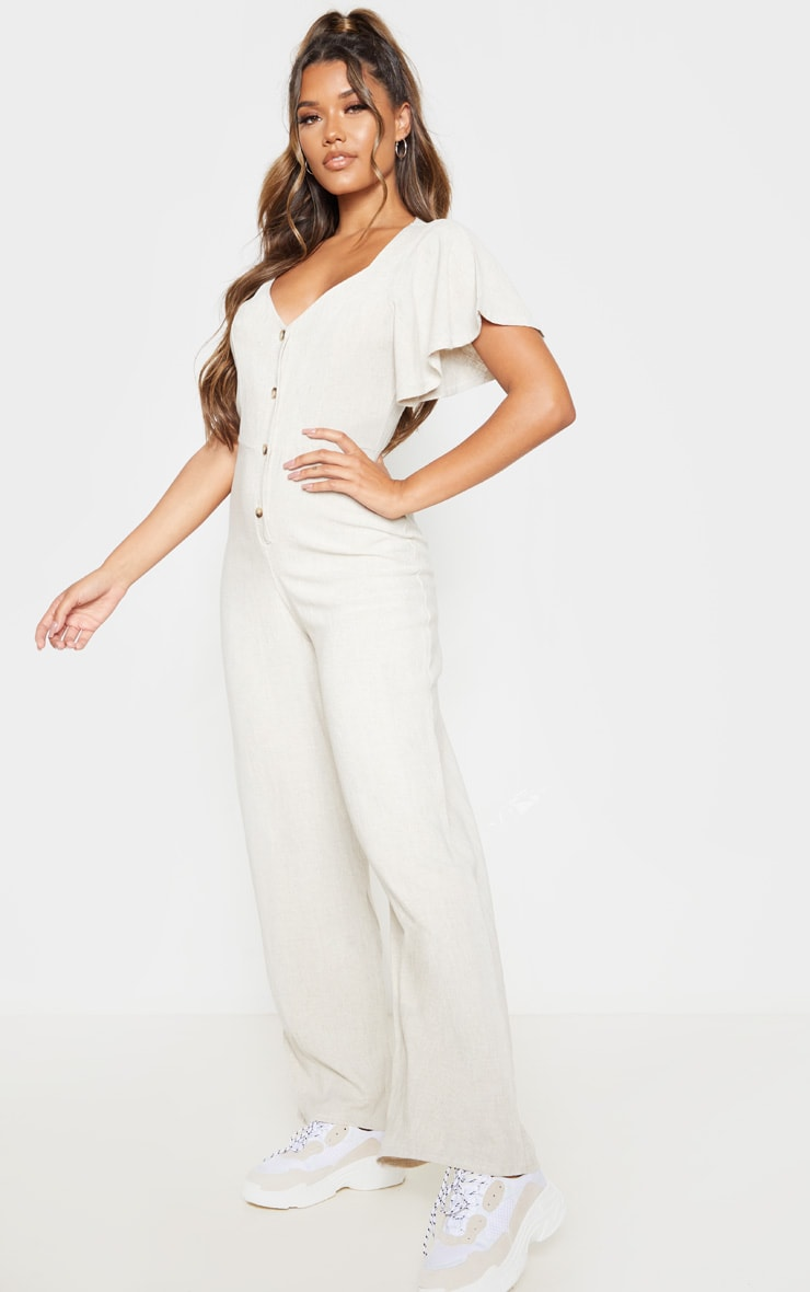 Stone Woven Frill Sleeve Wide Leg Jumpsuit 5