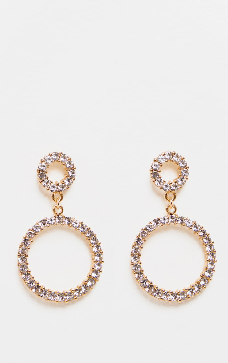 Gold Diamante Double Ring Drop Earrings 2