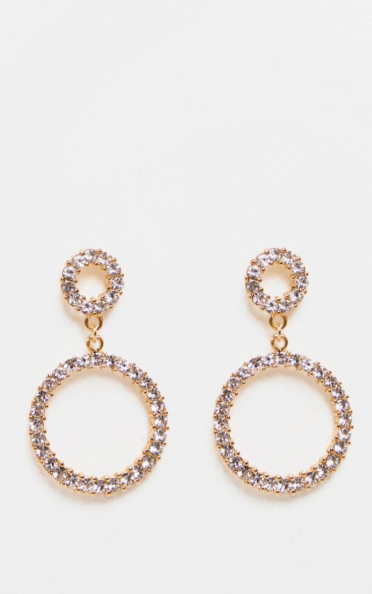 Boucles d'oreilles pendantes à anneau double strassées 2