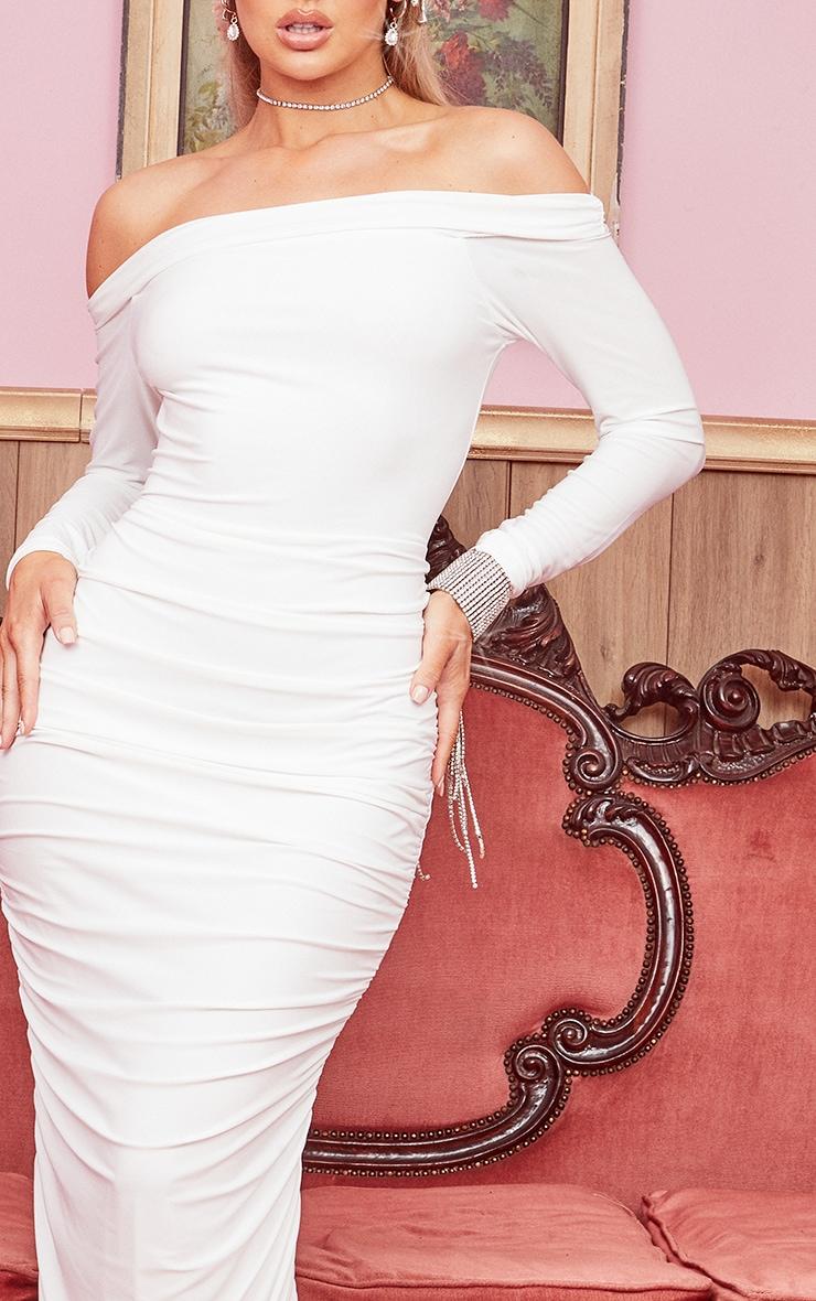 White Slinky Bardot Ruched Long Sleeve Maxi Dress 4