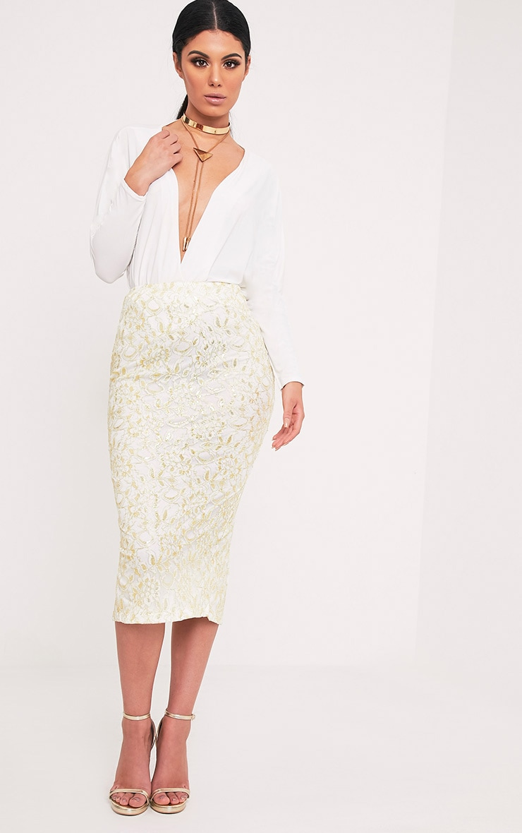 Brigitte Cream Metallic Lace Midaxi Skirt 1