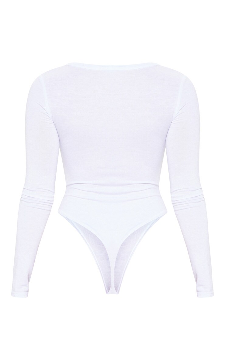 Petite White Basic Plunge Long Sleeve Bodysuit 4