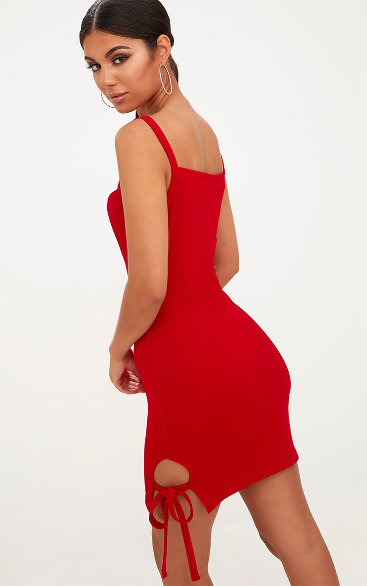 Red Thigh Tie Detail Bodycon Dress 2