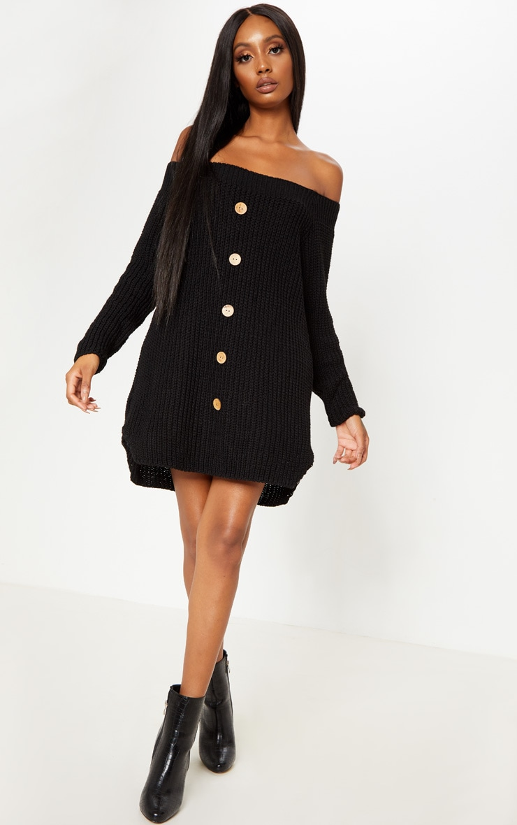 Black Knit Bardot Button Detail Jumper Dress 3