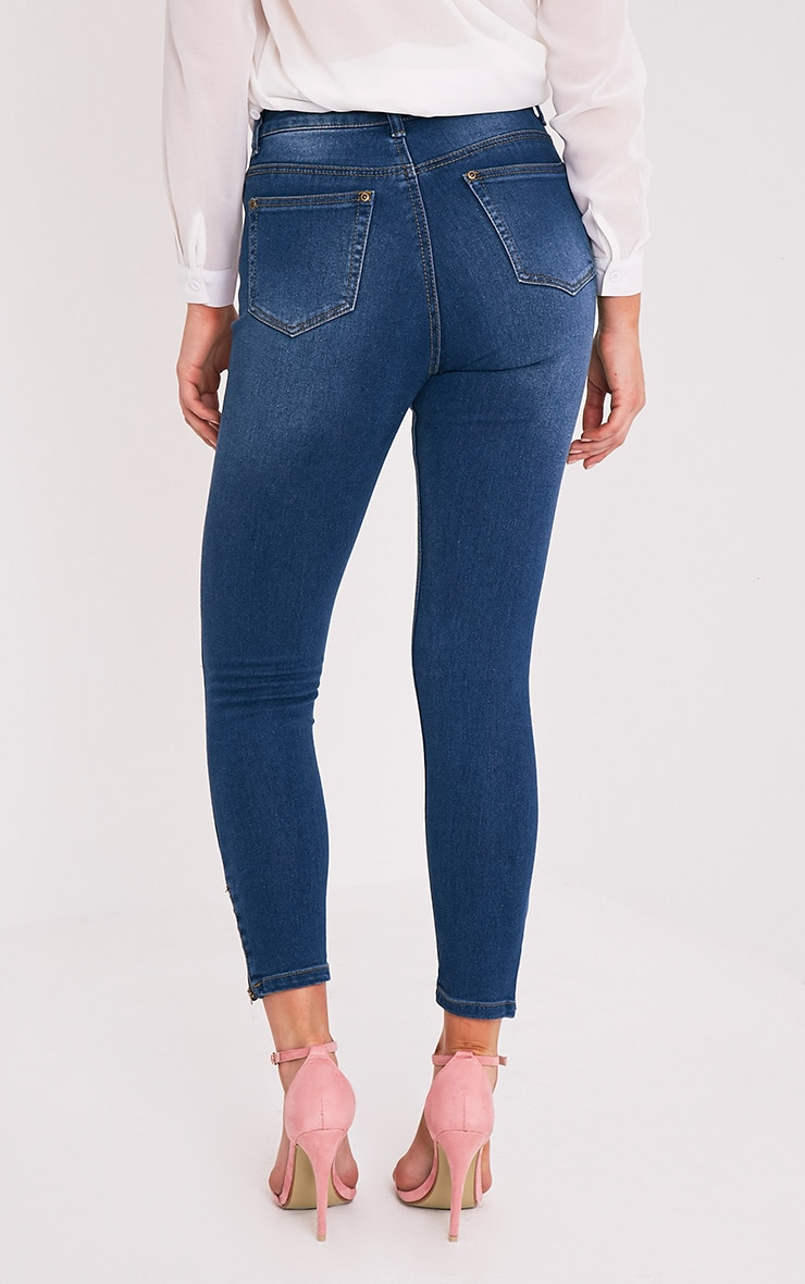 Mid Wash Embroidered High Waisted Skinny Jean 4