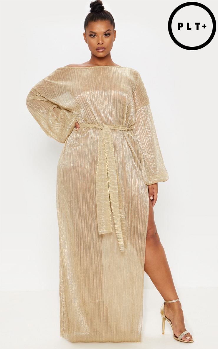 Plus Gold Metallic Pleated Maxi Dress by Prettylittlething