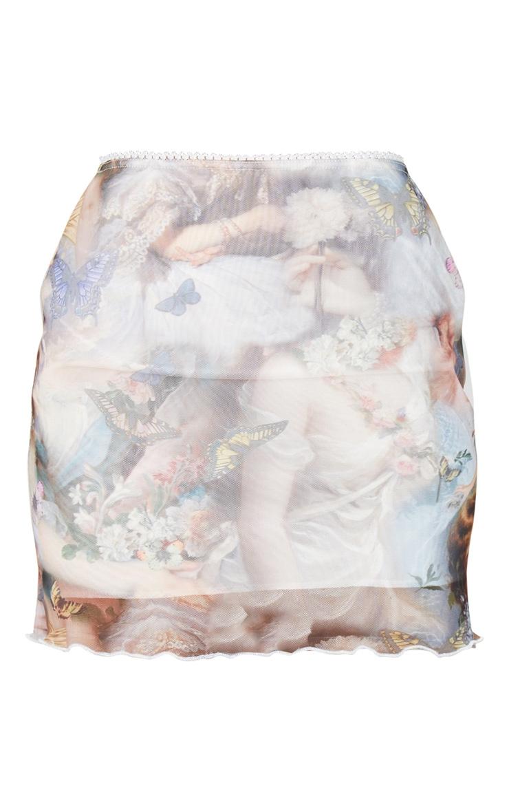 Nude Butterfly Print Mesh Lettuce Hem Skirt 6