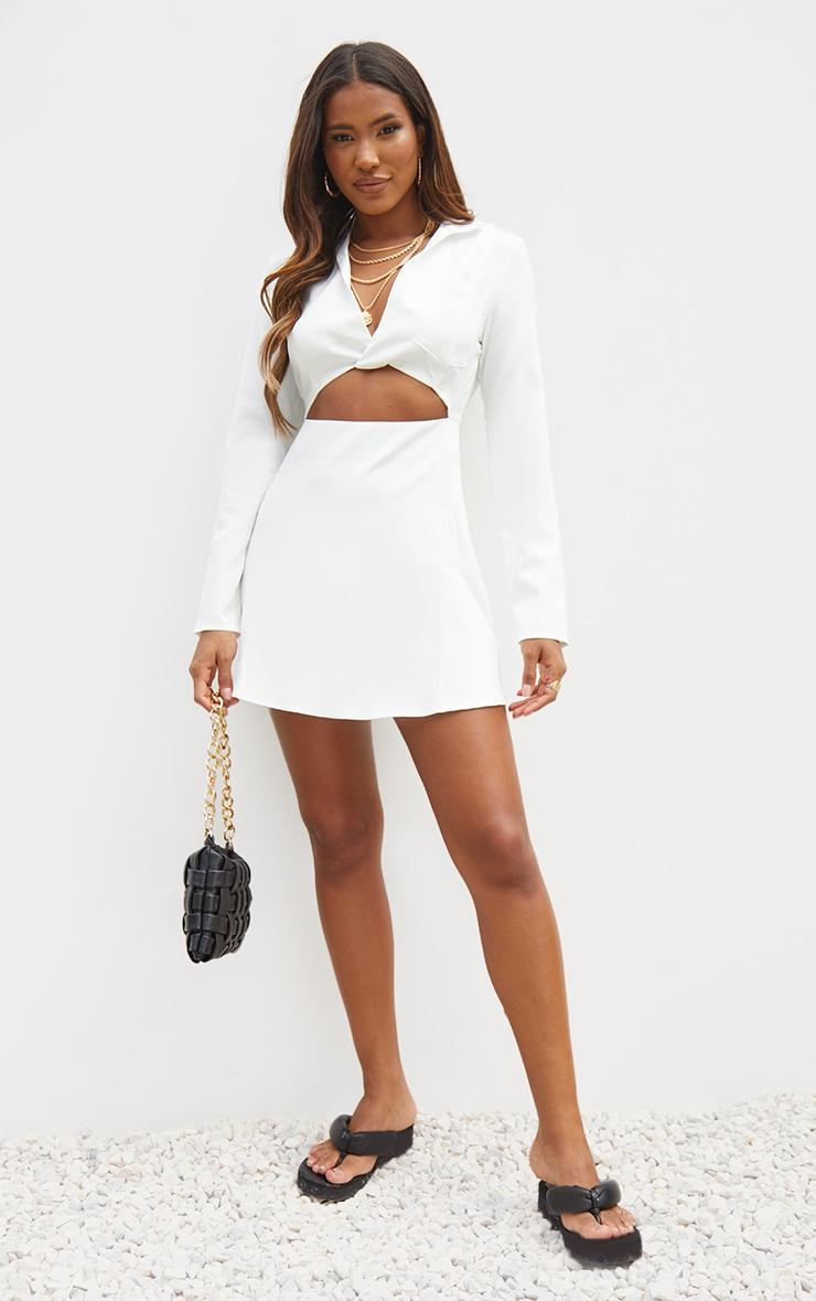 White Cut Out Collar Detail Bodycon Dress 3