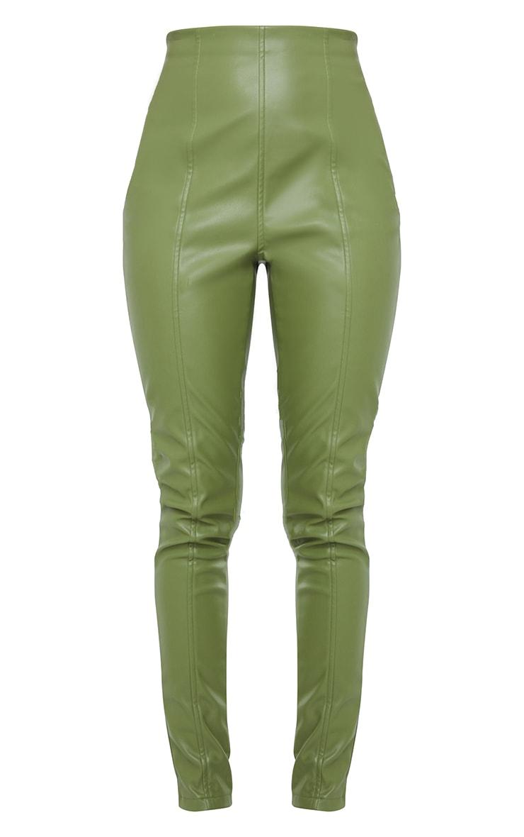 Military Khaki  Faux Leather Stretch Leggings 5