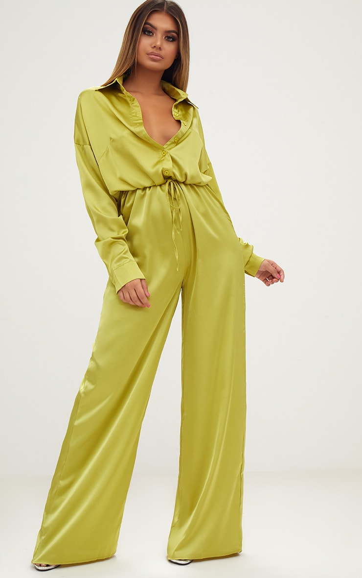 Lime Extreme Oversized Satin Wide Leg Jumpsuit  1