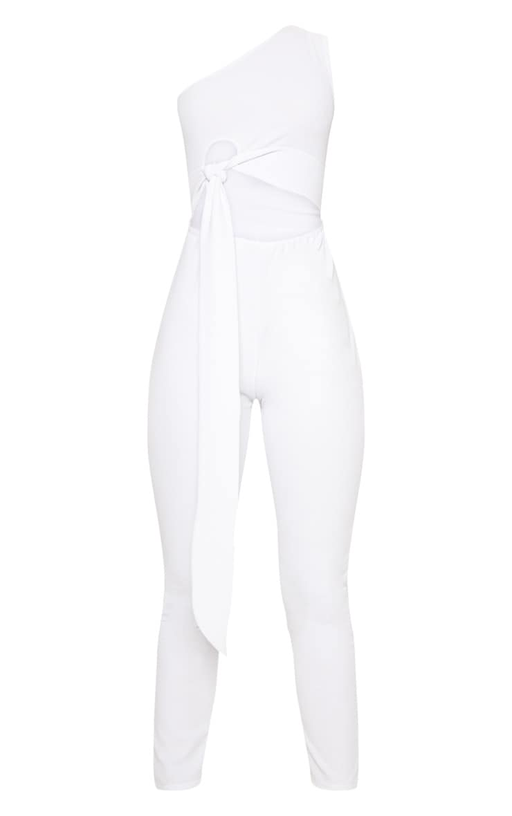 White Crepe One Shoulder Tie Front Jumpsuit 3