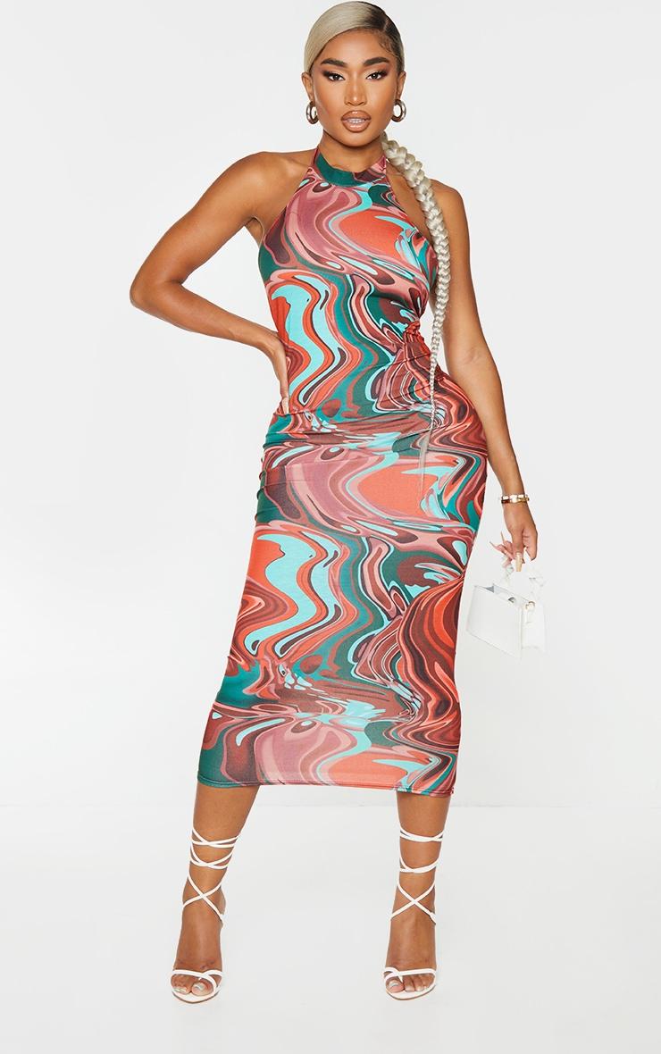 Shape Brown Marble Print Halterneck Midaxi Dress 1