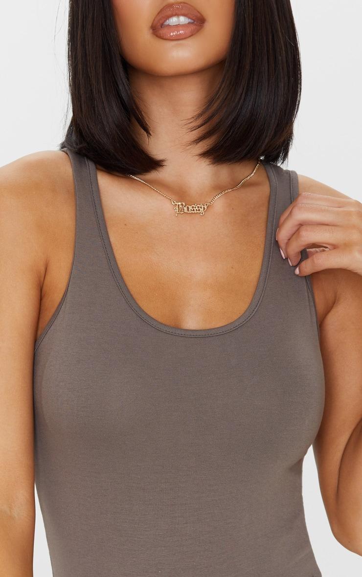 Mocha Cotton Scoop Neck Sleeveless Bodysuit 6