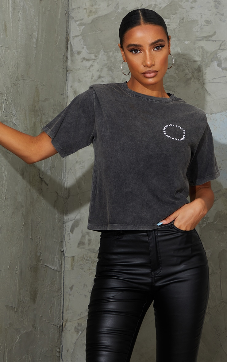 Grey Inspire Others Shoulder Pad Printed Washed T Shirt 1