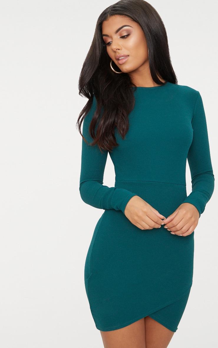 Emerald Green Long Sleeve Wrap Skirt Bodycon Dress 1