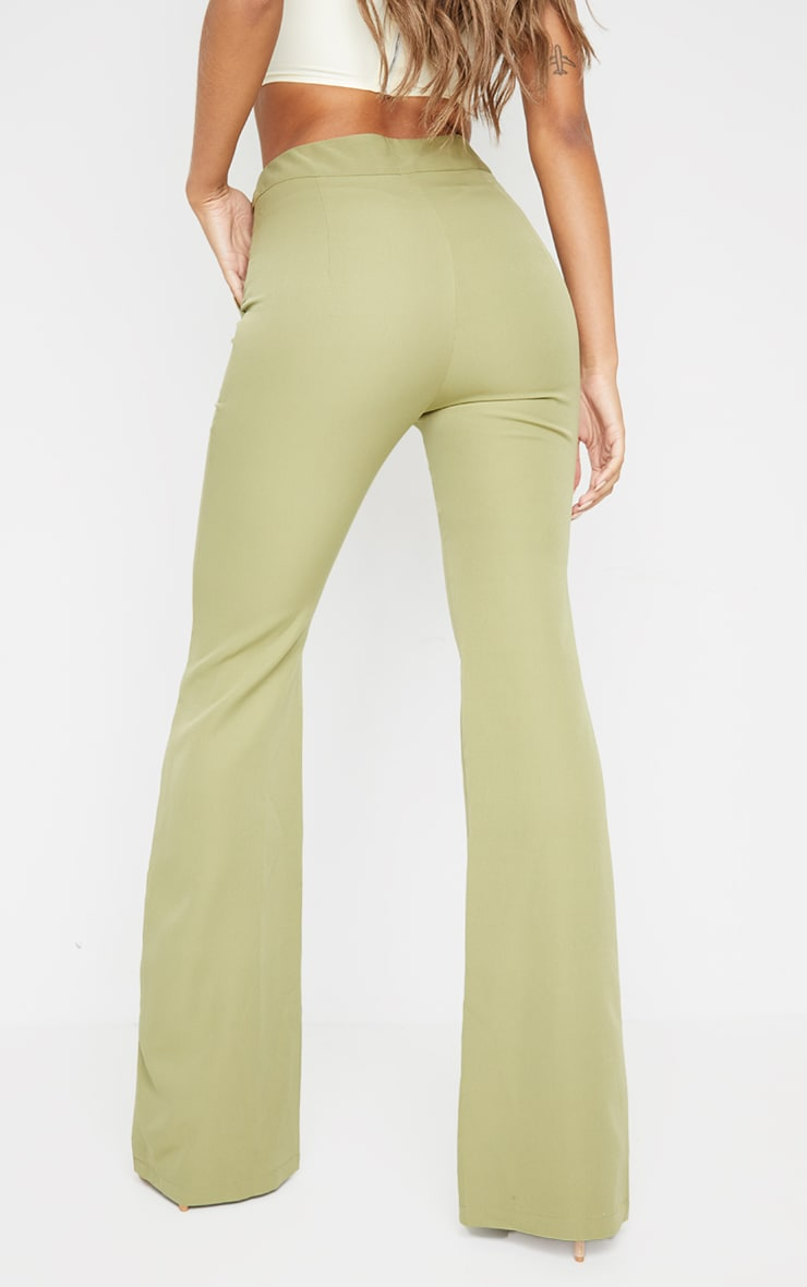 Sage Green Woven Double Button Detail Wide Leg Trousers 3
