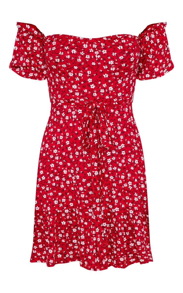 Red Ditsy Print Bardot Frill Hem Skater Dress 4