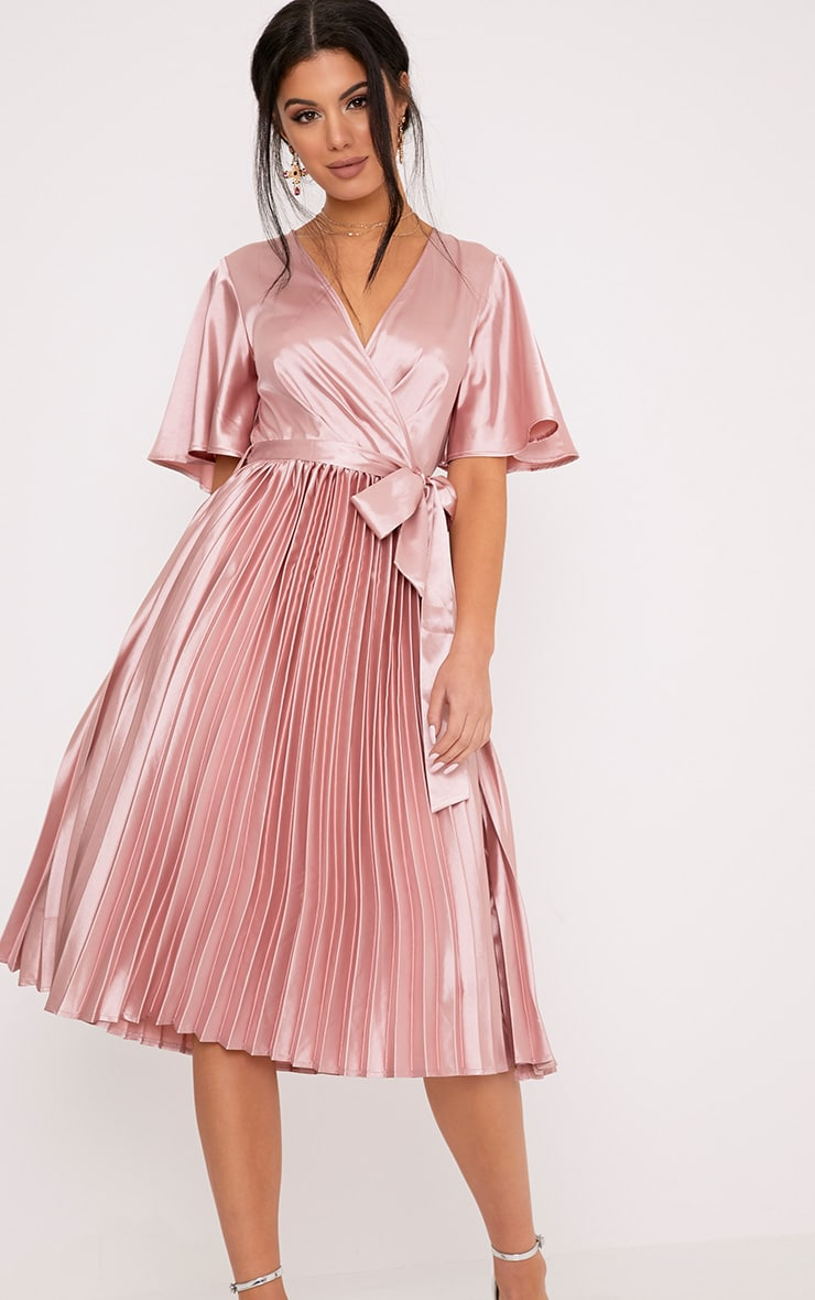 Mairee Dusty Pink Satin Pleated Midi Dress Prettylittlething