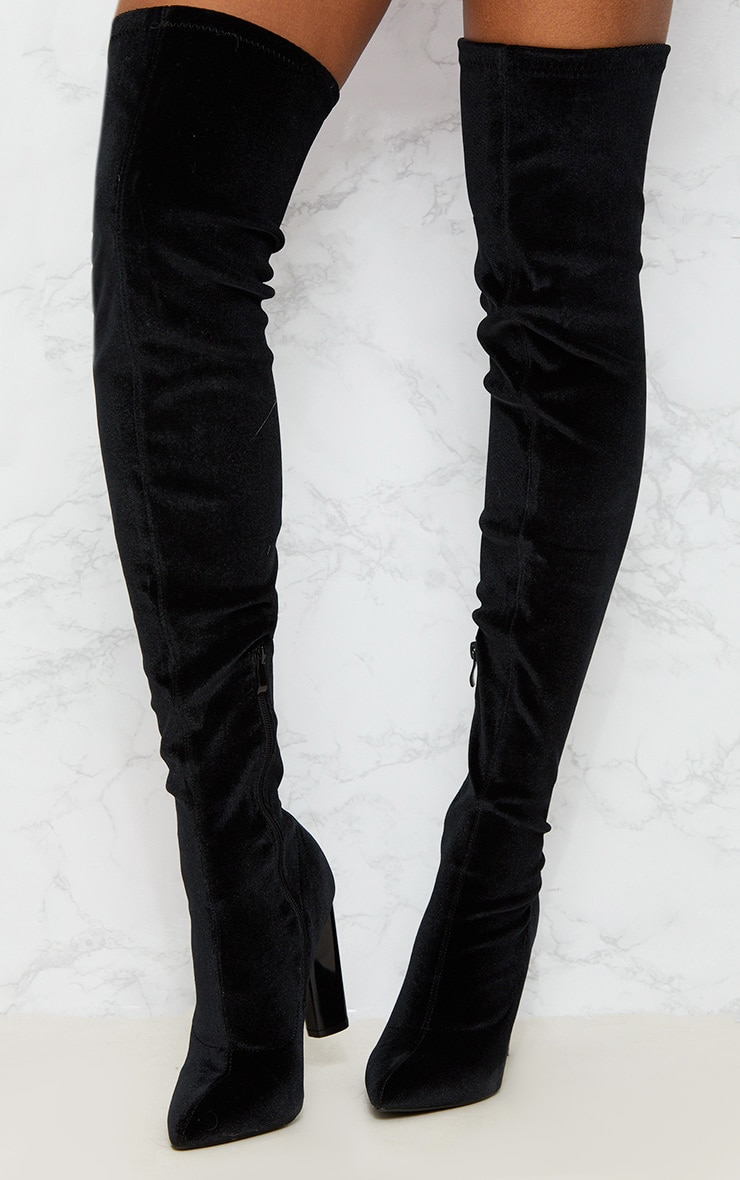 Black Velvet Thigh High Boot 6