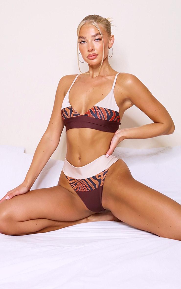 Brown Zebra Contrast Triangle Bikini Top 3