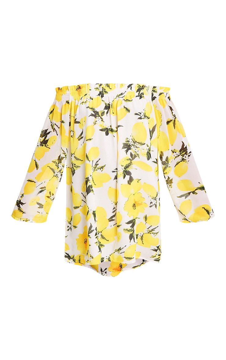 Sabree Yellow Lemon Printed Bardot Shift Dress 3