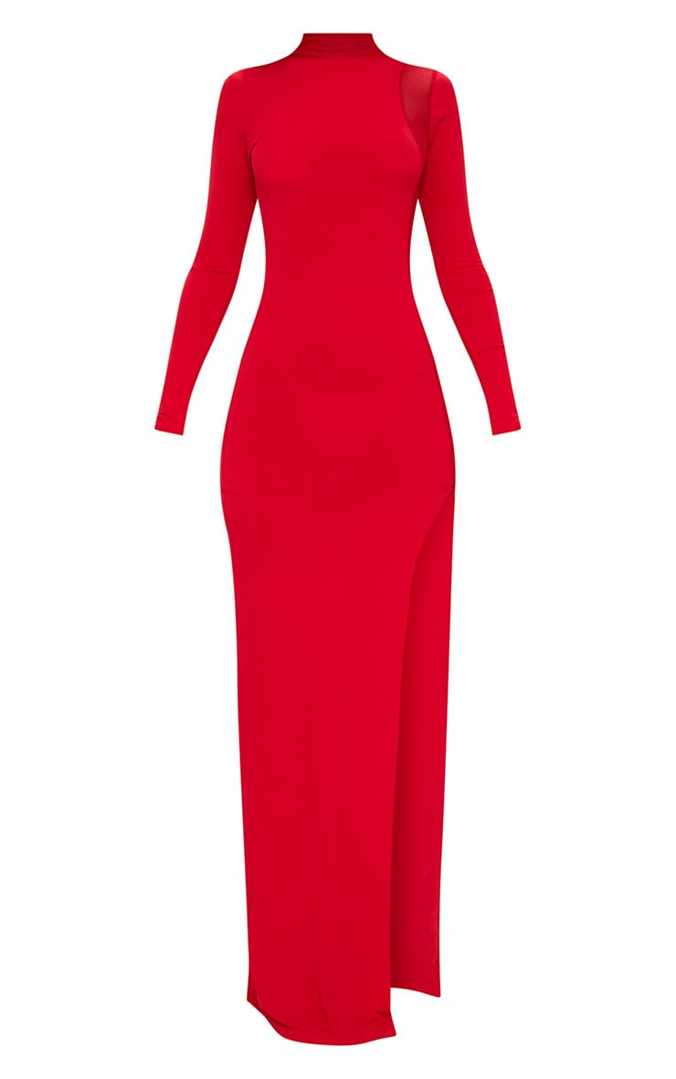 Red Mesh Panel High Neck Maxi Dress 3