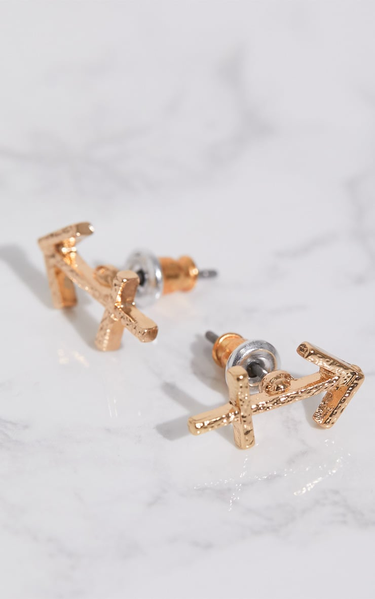 Gold Zodiac Sagittarius Stud Earrings 3