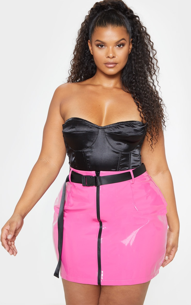 Plus Neon Pink Vinyl Zip Front Mini Skirt 1